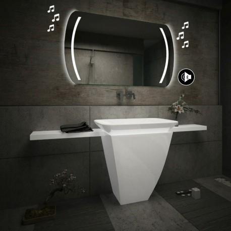 Specchio da Bagno con Angoli Squadrati Altoparlante Bluetooth e Strisce Sabbiate Retroilluminate led 20W art. spe90