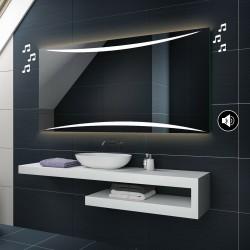 Specchio da Bagno con Angoli Squadrati Altoparlante Bluetooth e Strisce Sabbiate Retroilluminate led 20W art. spe91