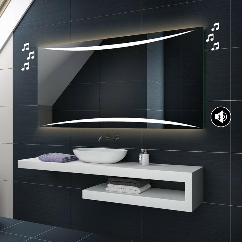Specchio Bagno 80 X 70.Specchio Da Bagno Con Disegno Sabbiato Altoparlante Bluetooth Musica