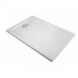Piatto Doccia Onda 70 x 120 Extrapiatto in Vetroresina Gelcoats di Colore Bianco Altezza 3 cm
