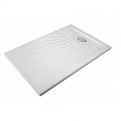 Piatto Doccia Onda 80 x 100 Extrapiatto in Vetroresina Gelcoats di Colore Bianco Altezza 3 cm