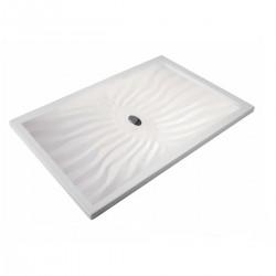 Piatto Doccia Onda 70 x 130 Extrapiatto in Vetroresina Gelcoats di Colore Bianco Altezza 3 cm
