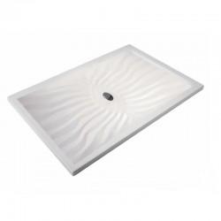 Piatto Doccia Onda 80 x 130 Extrapiatto in Vetroresina Gelcoats di Colore Bianco Altezza 3 cm