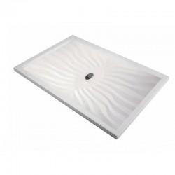 Piatto Doccia Onda 80 x 150 Extrapiatto in Vetroresina Gelcoats di Colore Bianco Altezza 3 cm