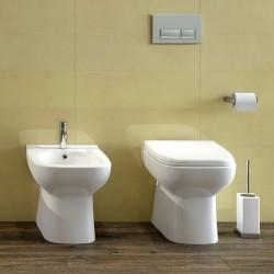 Sanitari filo parete in Ceramica Rak Origin wc + bidet + sedile a chiusura tradizionale