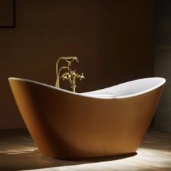 Vasca da bagno freestanding in acrilico 172x76,5 h72 ovale in finitura oro