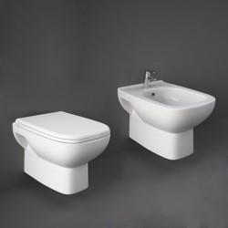 Sanitari Sospesi in Ceramica Rak Origin wc + bidet + sedile a chiusura tradizionale