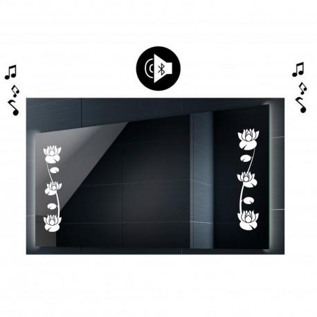 Specchio da Bagno con Angoli Squadrati Disegno Floreale e Altoparlante Bluetooth Retroilluminato led 20W art. spe215