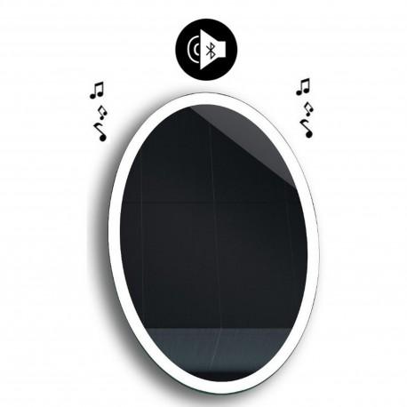 Specchio da Bagno Ovale con Altoparlante Bluetooth e Disegno Sabbiato Retroilluminato led 20W art. spe111