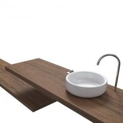 Top Bagno Larghezza 125 x Profondità 55 cm in abete per lavabi d'appoggio