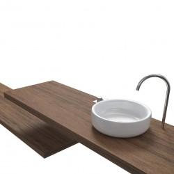 Top Bagno Larghezza 140 x Profondità 45 cm in abete per lavabi d'appoggio