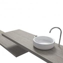 Top Bagno Larghezza 195 x Profondità 55 cm in abete per lavabi d'appoggio
