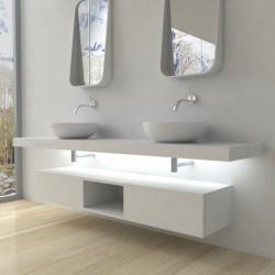 Su Misura Top Bagno Led Larghezza 50-59 x Profondità 45 cm in abete per lavabi d'appoggio