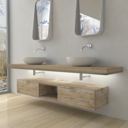 Su Misura Top Bagno Led Larghezza 80-89 x Profondità 45 cm in abete per lavabi d'appoggio