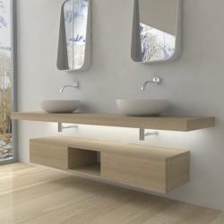 Su Misura Top Bagno Led Larghezza 90-99 x Profondità 45 cm in abete per lavabi d'appoggio