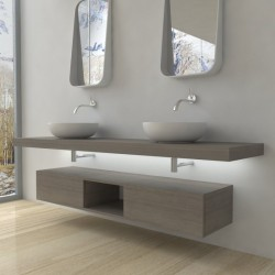Su Misura Top Bagno Led Larghezza 100-109 x Profondità 45 cm in abete per lavabi d'appoggio