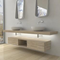 Su Misura Top Bagno Led Larghezza 110-119 x Profondità 45 cm in abete per lavabi d'appoggio