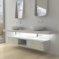 Su Misura Top Bagno Led Larghezza 120-129 x Profondità 45 cm in abete per lavabi d'appoggio