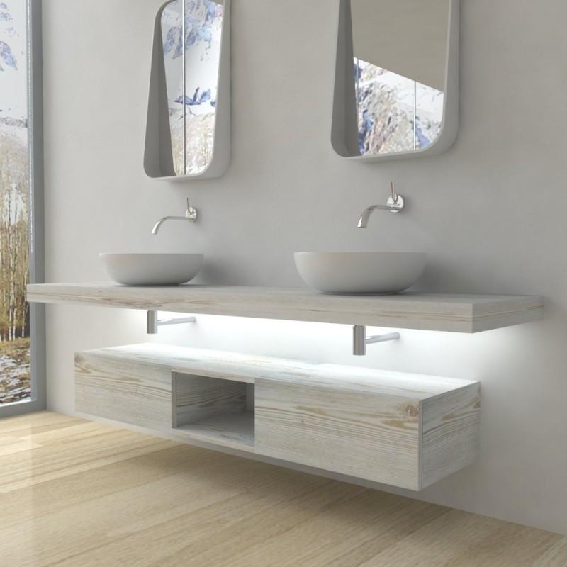 Su Misura Top Bagno Led Larghezza 120-129 x Profondità 45 cm in abete per  lavabi d\'appoggio - Vendita Online ItaliaBoxDoccia