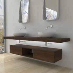 Su Misura Top Bagno Led Larghezza 130-139 x Profondità 45 cm in abete per lavabi d'appoggio