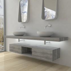 Su Misura Top Bagno Led Larghezza 140-149 x Profondità 45 cm in abete per lavabi d'appoggio