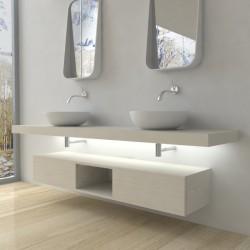 Su Misura Top Bagno Led Larghezza 160-169 x Profondità 45 cm in abete per lavabi d'appoggio