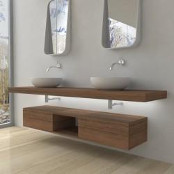 Su Misura Top Bagno Led Larghezza 170-179 x Profondità 45 cm in abete per lavabi d'appoggio