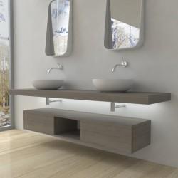 Su Misura Top Bagno Led Larghezza 190-200 x Profondità 45 cm in abete per lavabi d'appoggio