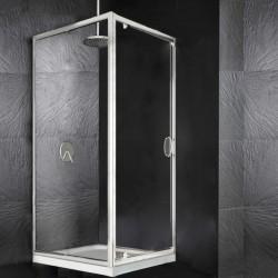 Box Doccia a Porta Battente + Anta Fissa Laterale Cristallo 6 mm Altezza 195 cm art. HM12