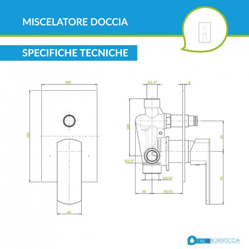 Miscelatore Incasso Doccia a Muro con Deviatore Fratelli Frattini Modus art. 52010 Vendita Online ItaliaBoxDoccia