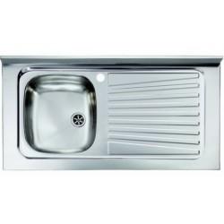 Lavello appoggio unica vasca a sinistra 90 x 50 cm in acciaio inox ed accessori