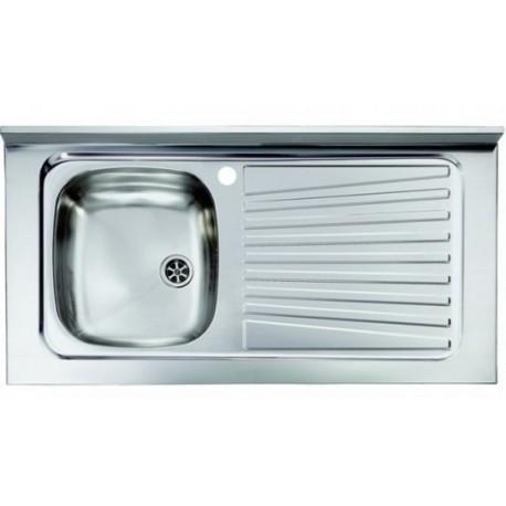 Lavello appoggio unica vasca a sinistra 100 x 50 cm in acciaio inox ed accessori
