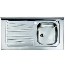 Lavello appoggio unica vasca a destra 100 x 50 cm in acciaio inox ed accessori