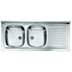 Lavello appoggio doppia vasca a sinistra 120 x 50 cm in acciaio inox ed accessori