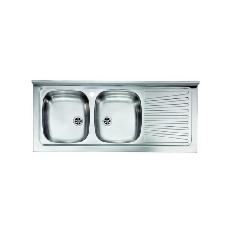 Acciaio Inox Per Acquaio.Lavello Appoggio Due Vasche A Sinistra 120 X 50 Cm In Acciaio Inox Ed Accessori Vendita Online Italiaboxdoccia