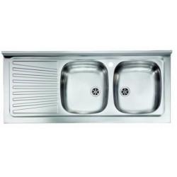 Lavello appoggio due vasche a destra 120 x 50 cm in acciaio inox ed accessori