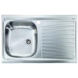 Lavello Cucina a vasca singola 86x50 cm in acciaio inox con gocciolatoio destra