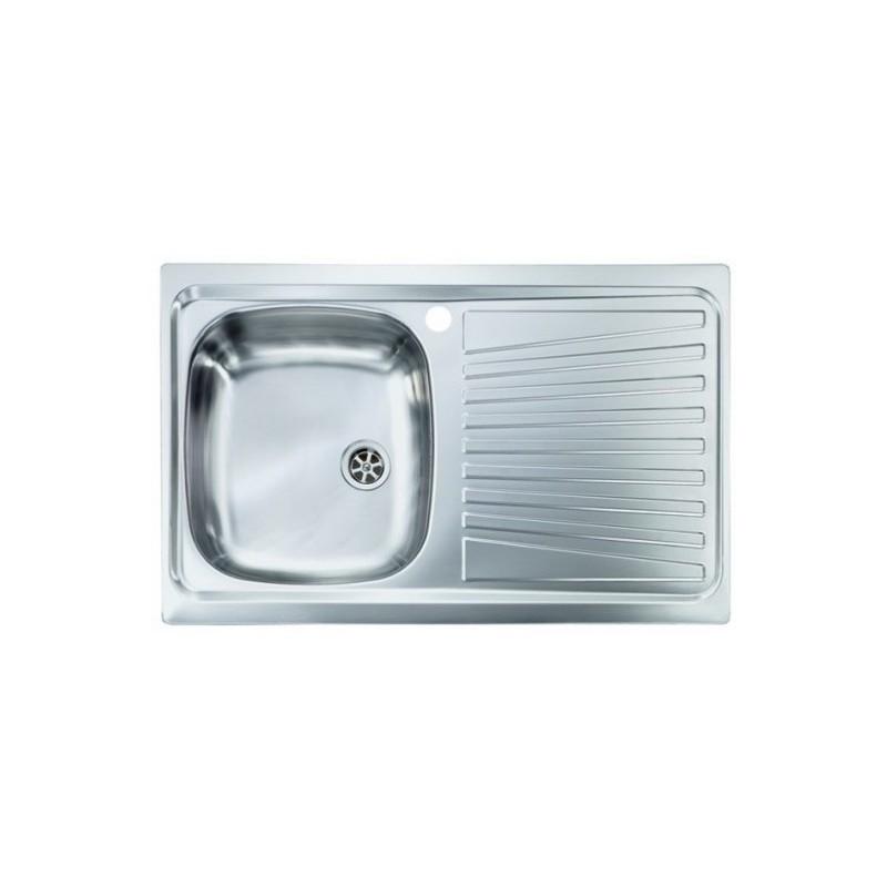 Lavello Cucina a vasca singola 86x50 cm in acciaio inox con gocciolatoio  destra - Vendita Online ItaliaBoxDoccia