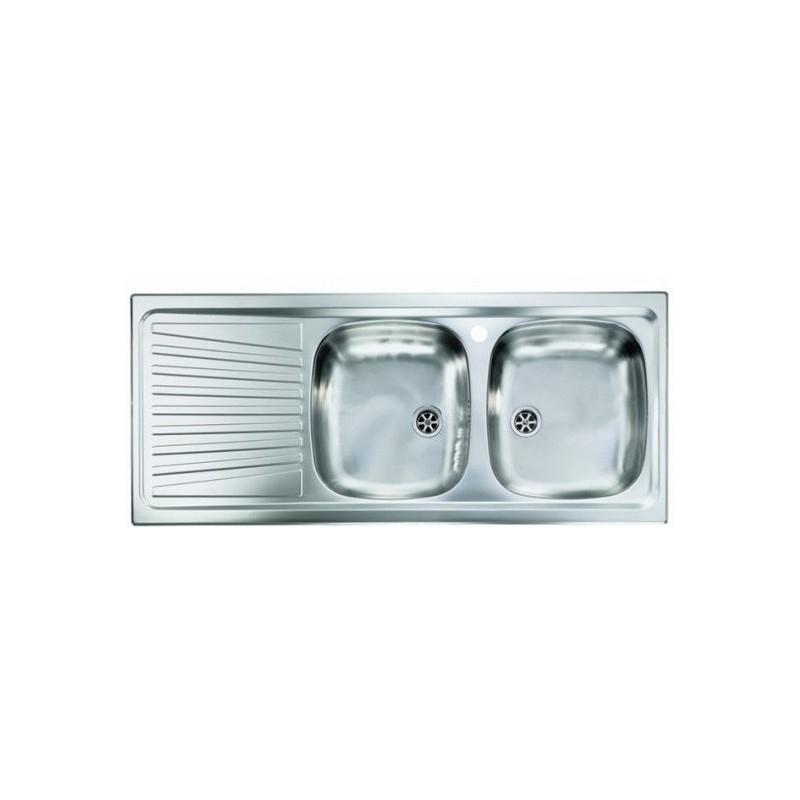 Lavello Cucina da Incasso due vasche a destra 116 x 50 cm in acciaio inox  ed accessori - Vendita Online ItaliaBoxDoccia