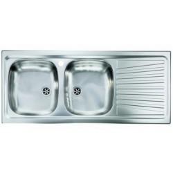 Lavello Cucina da Incasso due vasche a sinistra 116 x 50 cm in acciaio inox ed accessori