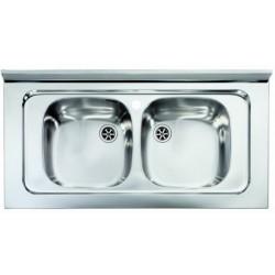 Lavello Cucina da appoggio a due vasche 80 x 50 cm in acciaio inox ed accessori