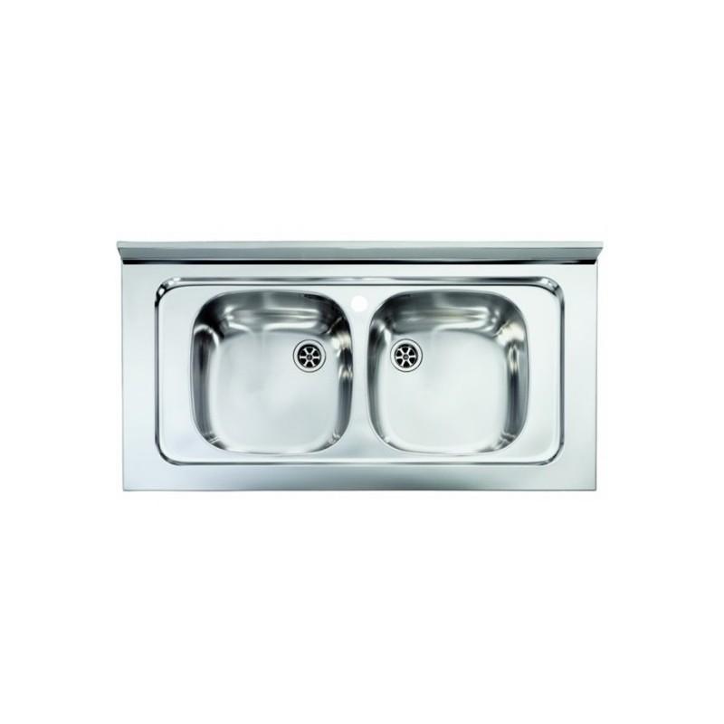 Lavello Cucina da appoggio a due vasche 80 x 50 cm in acciaio inox ed  accessori - Vendita Online ItaliaBoxDoccia
