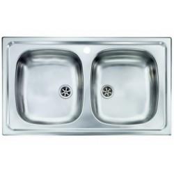Lavello Cucina da incasso a due vasche 86 x 50 cm in acciaio inox ed accessori
