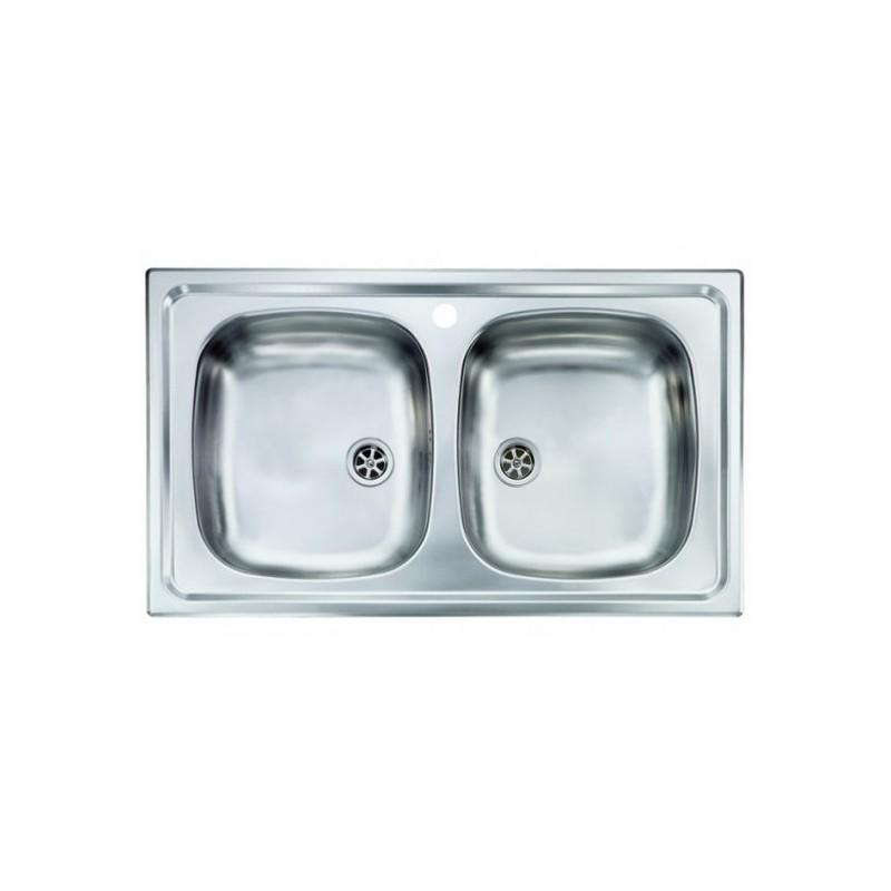 Lavello Cucina da incasso a due vasche 86 x 50 cm in acciaio inox ed  accessori - Vendita Online ItaliaBoxDoccia