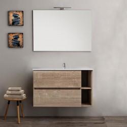 Mobile bagno sospeso venere rovere 90 cm con specchio con lampada retroilluminato led + altoparlante bluetooth