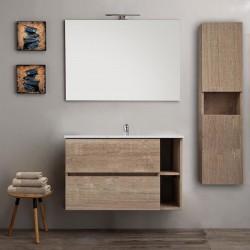 Mobile bagno con colonna sospeso venere rovere 90 cm + specchio lampada retroilluminato led e altoparlante bluetooth