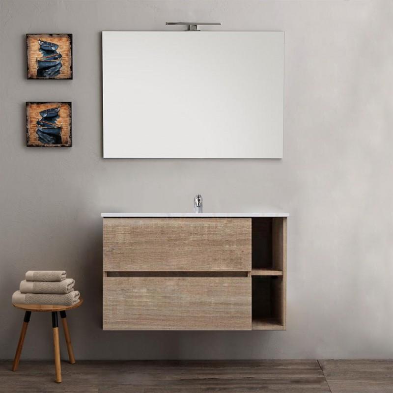 Mobile bagno con colonna sospeso venere rovere 90 cm for Colonna mobile bagno