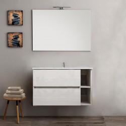 Mobile bagno sospeso round bianco 90 cm + specchio lampada retroilluminato led e altoparlante bluetooth