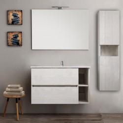 Mobile bagno con colonna sospeso round bianco 90 cm + specchio lampada retroilluminato led e altoparlante bluetooth
