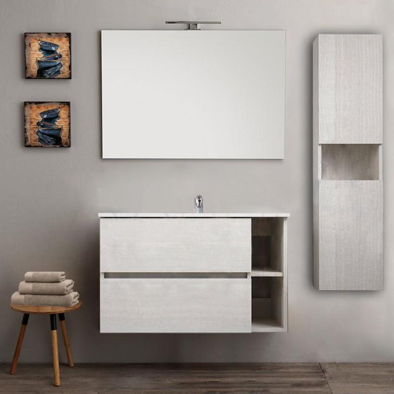 Mobile bagno con colonna sospeso round bianco 90 cm + specchio lampada  retroilluminato led e altoparlante bluetooth - Vendita Online  ItaliaBoxDoccia